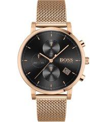 boss men's chronograph integrity rose gold-tone stainless steel mesh bracelet watch 43mm