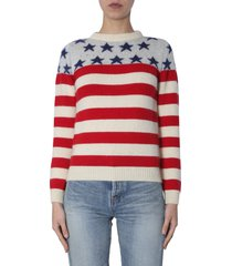 saint laurent flag jacquard sweater