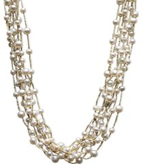 pearl necklace, sterling silver cultured freshwater pearl multi-strand necklace (4-1/2-6-1/2mm)