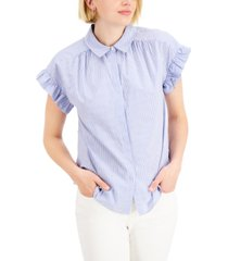 charter club cotton ruffle sleeve blouse, created for macy's