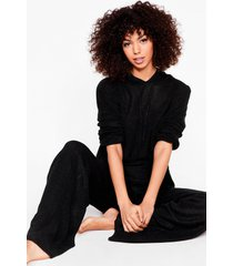womens knit's time hoodie and wide-leg pants set - black
