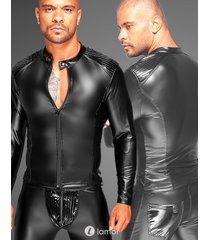 * noir handmade wetlook herenjack met pvc delen