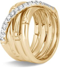 'bamboo' diamond 18k yellow gold band ring