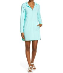 women's l.l. bean sand beach hooded cover-up tunic, size x-large - blue/green