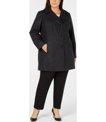 anne klein plus size single-breasted walker coat