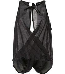 ann demeulemeester draped voile blouse - black