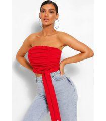 bandeau top met ruches en knoopdetail, rood