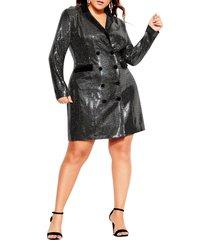 plus size women's city chic star long sleeve tuxedo dress