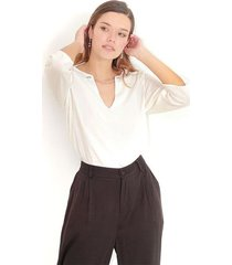 blusa color blanco, cuello redondo, manga 3/4 color-blanco-talla-xl