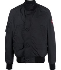 canada goose long sleeve button down bomber jacket - black