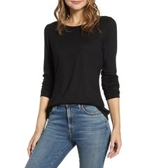women's gibson cozy fleece fitted top, size large - black