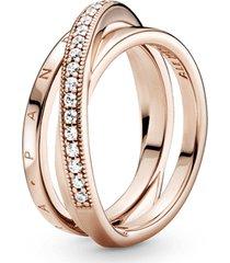 anel triplo cruzado em pavé signature pandora rose™