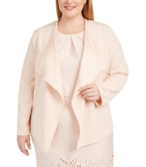 nine west plus size draped open-front jacket