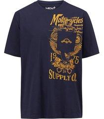 t-shirt men plus marinblå::majsgul