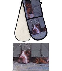 curious spaniel dog 100% cotton 88x18cm double oven glove & 55x70cm tea towel