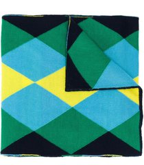 pringle of scotland argyle intarsia merino wool scarf - blue