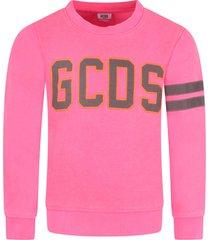 gcds mini neon fuchsia sweatshirt for girl with logo
