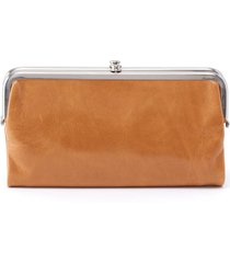 hobo 'lauren' leather double frame clutch - yellow