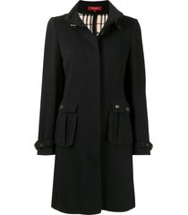 burberry pre-owned buckled neck thigh-length coat - black