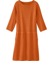 gebreide jurk uit bio-merino/katoenmix met lichte boothals, roest 50