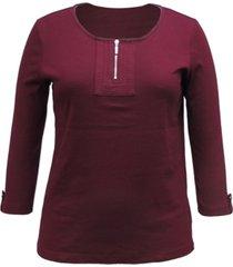 karen scott cotton 3/4-sleeve top, created for macy's