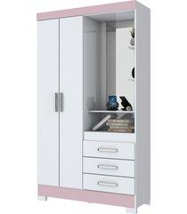 guarda roupa briz 02 portas 03 gavetas com espelho branco/branco rosa flex
