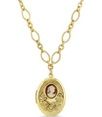 2028 carnelian cameo with flowers oval locket necklace
