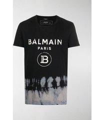 balmain abstract print logo t-shirt