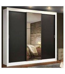 guarda roupa casal madesa lyon 3 portas de correr com espelho 2 gavetas branco/preto branco