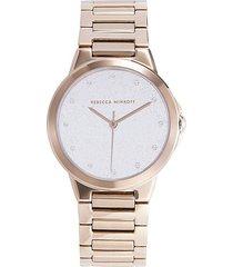 rebecca minkoff women's rose goldtone stainless steel bracelet watch