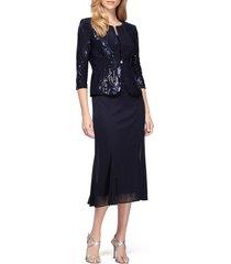 women's alex evenings sequin midi dress with jacket, size 16 - blue