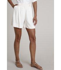 bermuda feminina alfaiatada com bolsos off white