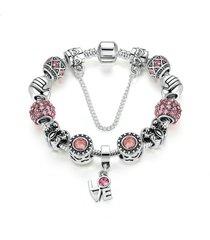 donna braccialetto argento di corona e cuori in cristallo vertro e perline diy accessori da gioielli