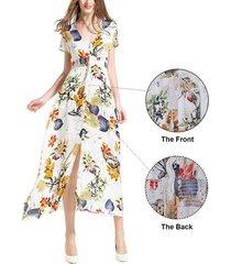 vestidos de mujer de impresión con cuello en v vestidos de playa - beige