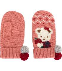 familiar intarsia knit mittens - pink