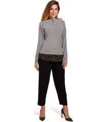 blouse style s195 gelaagde pullover top - zwart