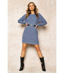 crew neck sweater dress, slate blue