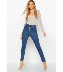 hoge taille skinny jeans met knopen aan de voorkant, middenblauw
