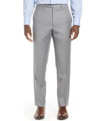men's big & tall john w. nordstrom torino flat front solid trousers, size 48 - grey