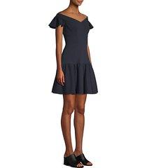 off-the-shoulder mini flare dress