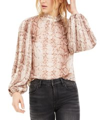bar iii shirred-neck snake-print top, created for macy's