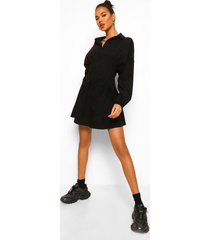corduroy cinch blouse jurk met veterrug, black