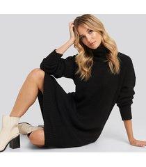trendyol turtleneck oversize knitted dress - black