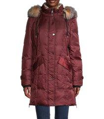down-filled faux fur-trim & fox fur hood parka jacket