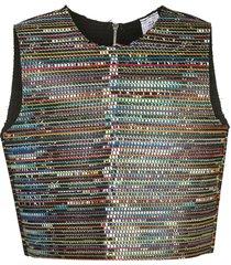 bethany williams woven sleeveless vest - black