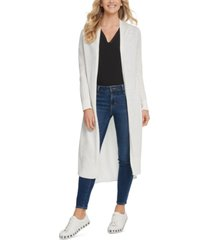 dkny mixed-media duster cardigan