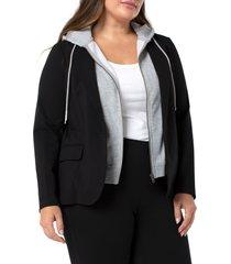 plus size women's liverpool los angeles removable hood blazer, size 3x - black