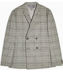 mens grey gray check skinny fit double breasted suit blazer with peak lapels