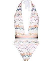 missoni mare zigzag embroidered halterneck swimsuit - white