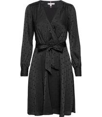 polka dot fit&flare wrap dress kort klänning svart tommy hilfiger